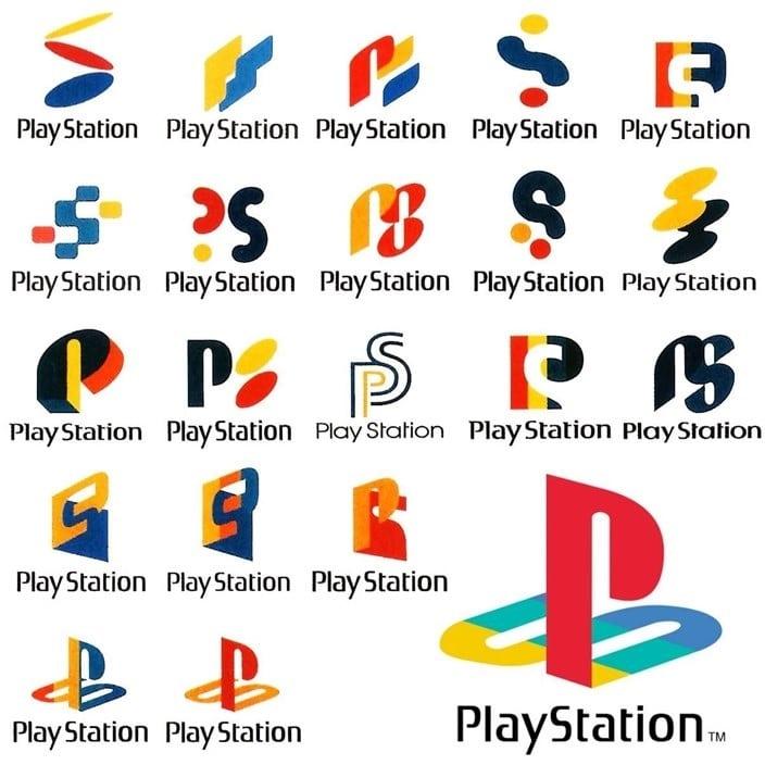 Logotipos testados para a marca PlayStation nos anos 90.
