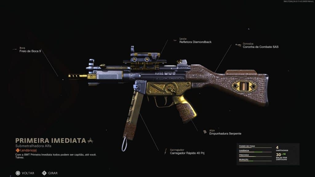 Nova skin lendária para a submetralhadora MP5 em Warzone com detalhes em dourado, inclusa no passe de batalha