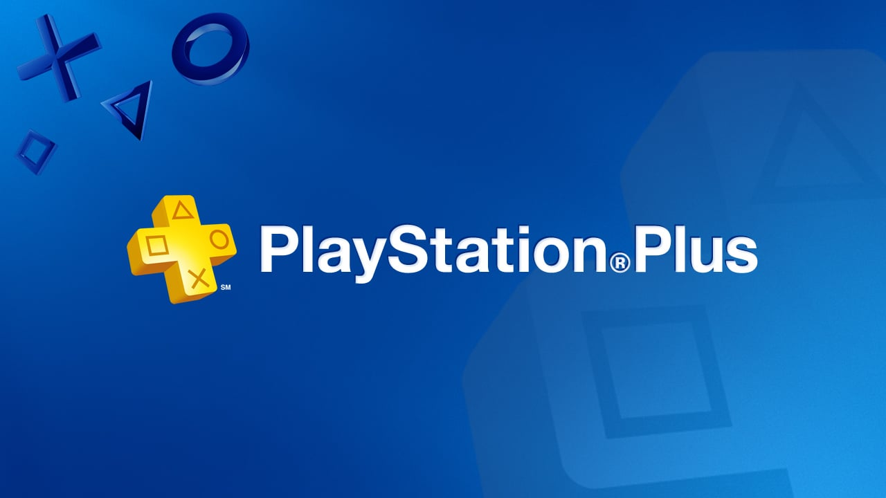 Logo do PS Plus com fundo azul.