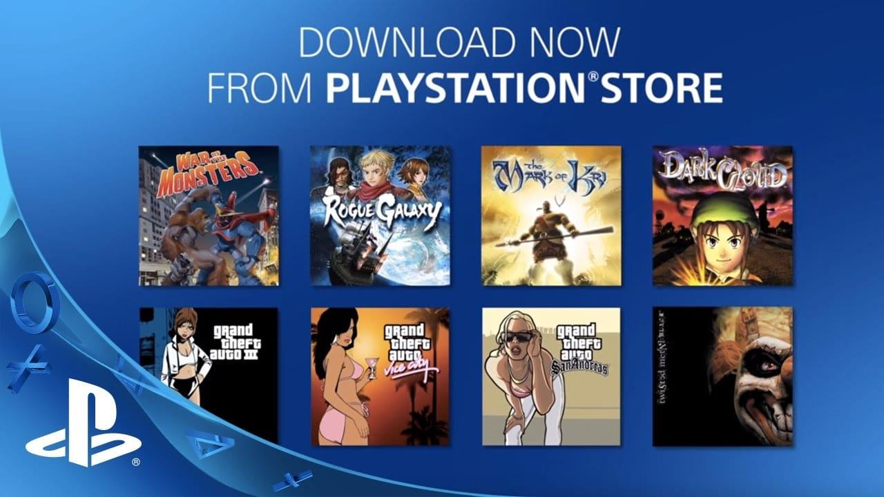 Imagem com vários jogos retrô da PlayStation