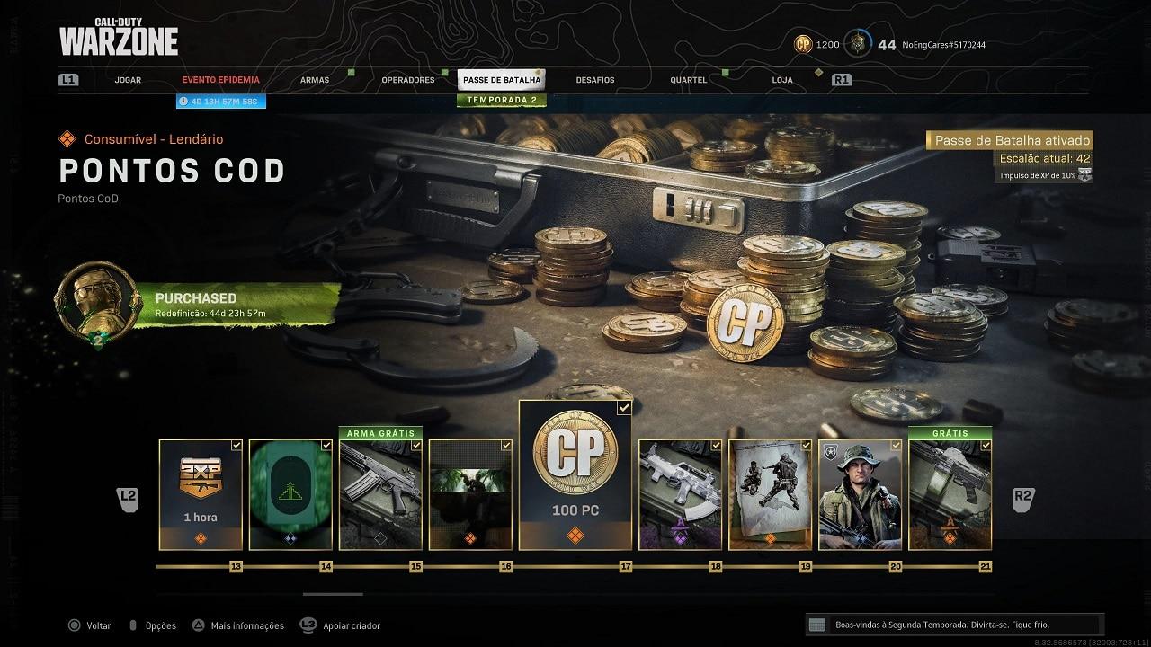Pontos CoD Itens variados - Passe de Batalha - Call of Duty Warzone Cold War