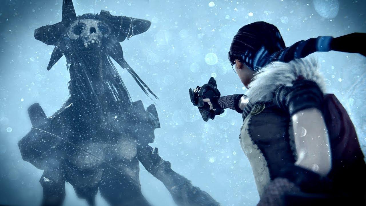Praey for the Gods - protagonista do jogo encara um colosso com ossos espalhados pela cabeça e algumas deformações pelos ombros