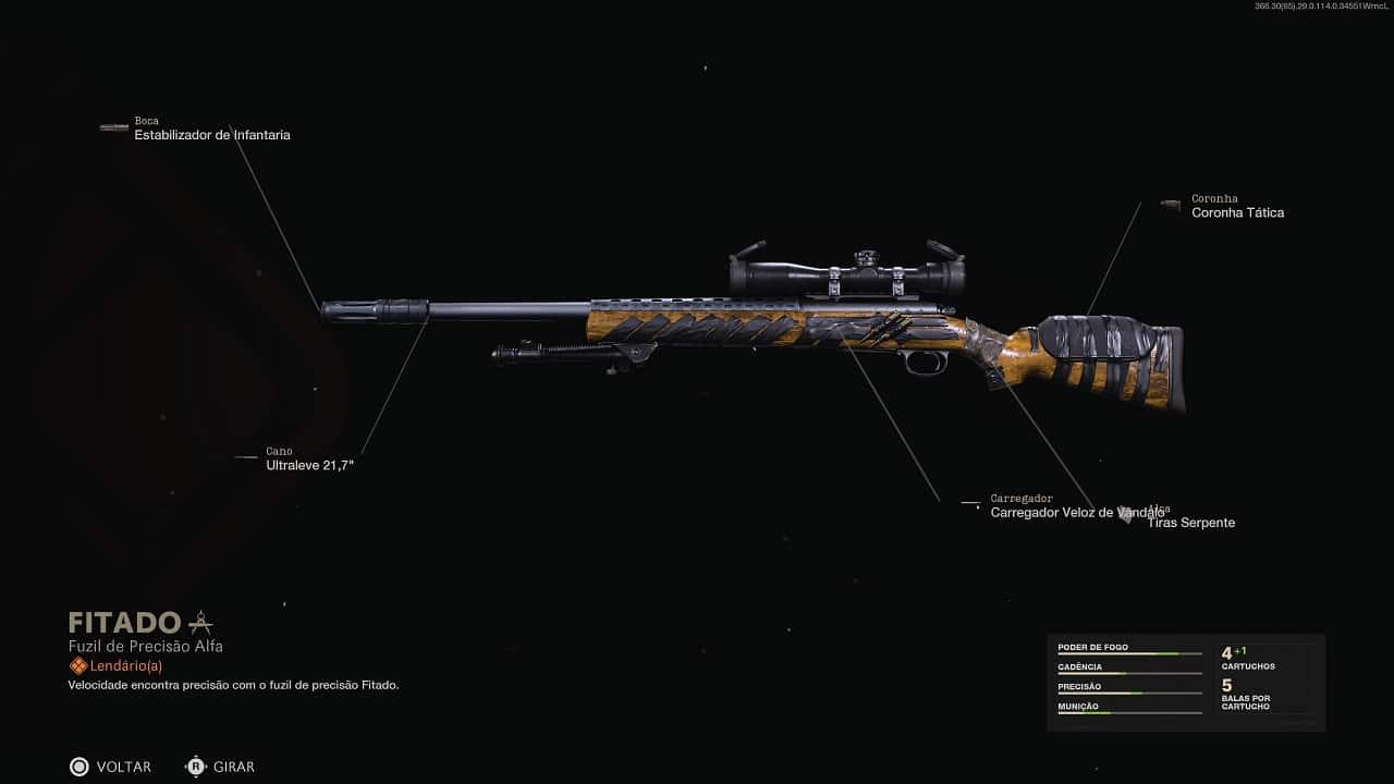 Em destaque, o fuzil de precisão Pelington 703 com projeto Lendário FITADO - incluso no Passde de Batalha de Warzone