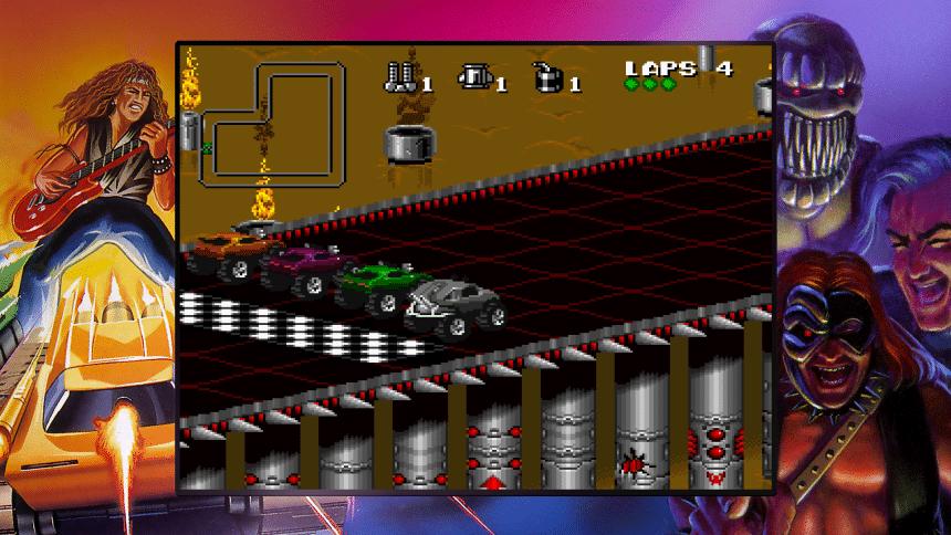 Imagem com carros na linha de partida o jogo Rock N Roll Racing pertencente ao Blizzard Arcade Collection