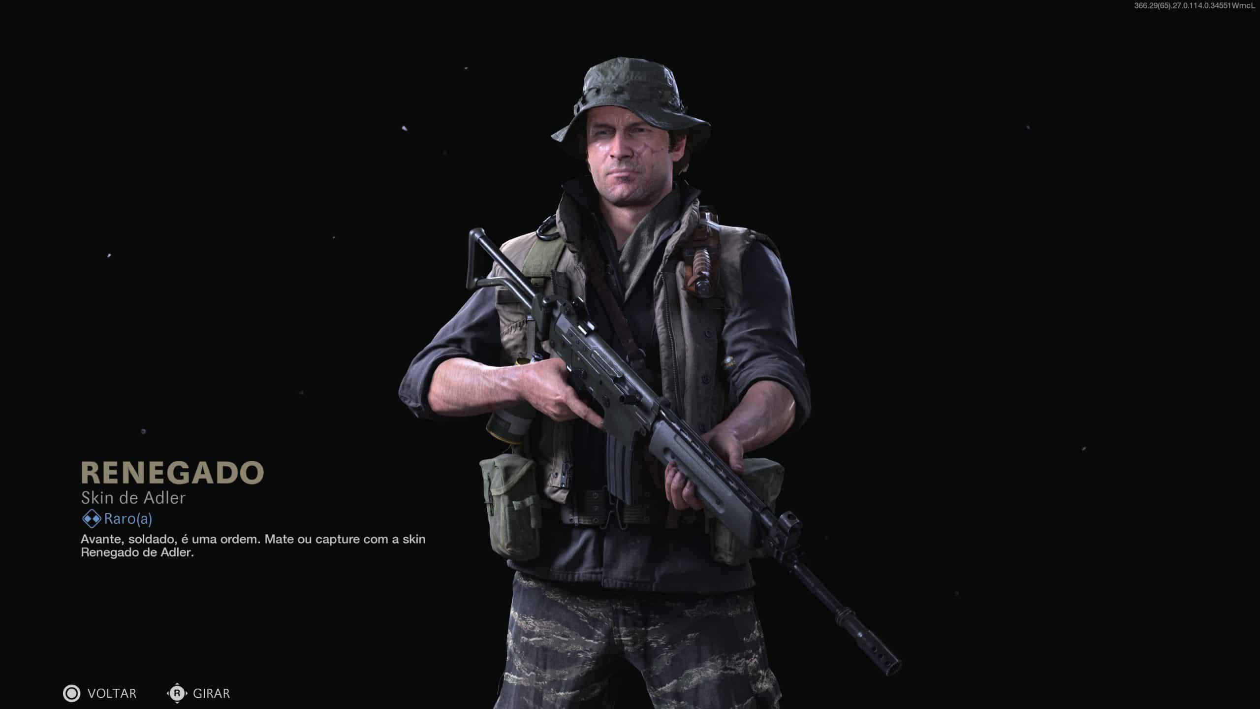 Operador Adler de Call of Duty com uma roupa escura e camuflada, segurando uma arma e de chapéu