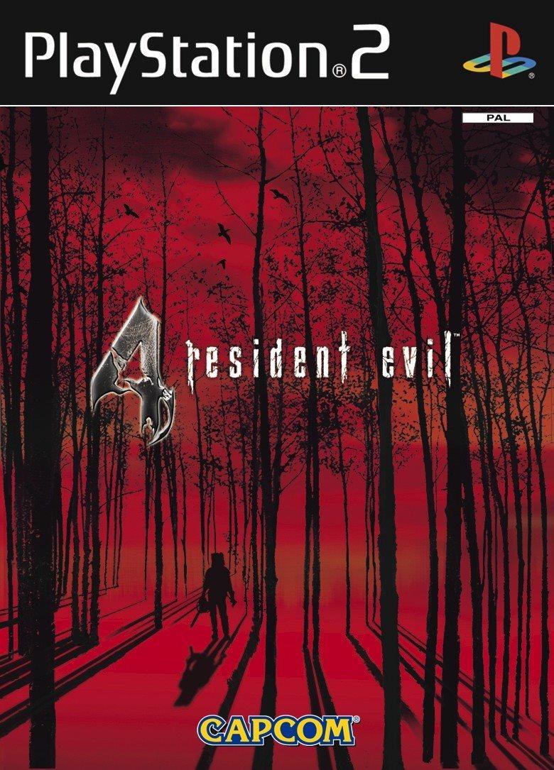 Capa de PS2 com fundo vermelho de Resident Evil 4.