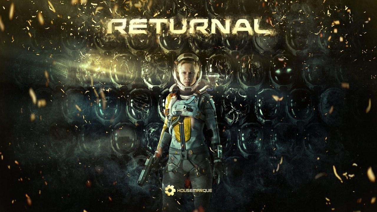 Pôster de Returnal com protagonista ao meio cercada de capacetes de astronautas.