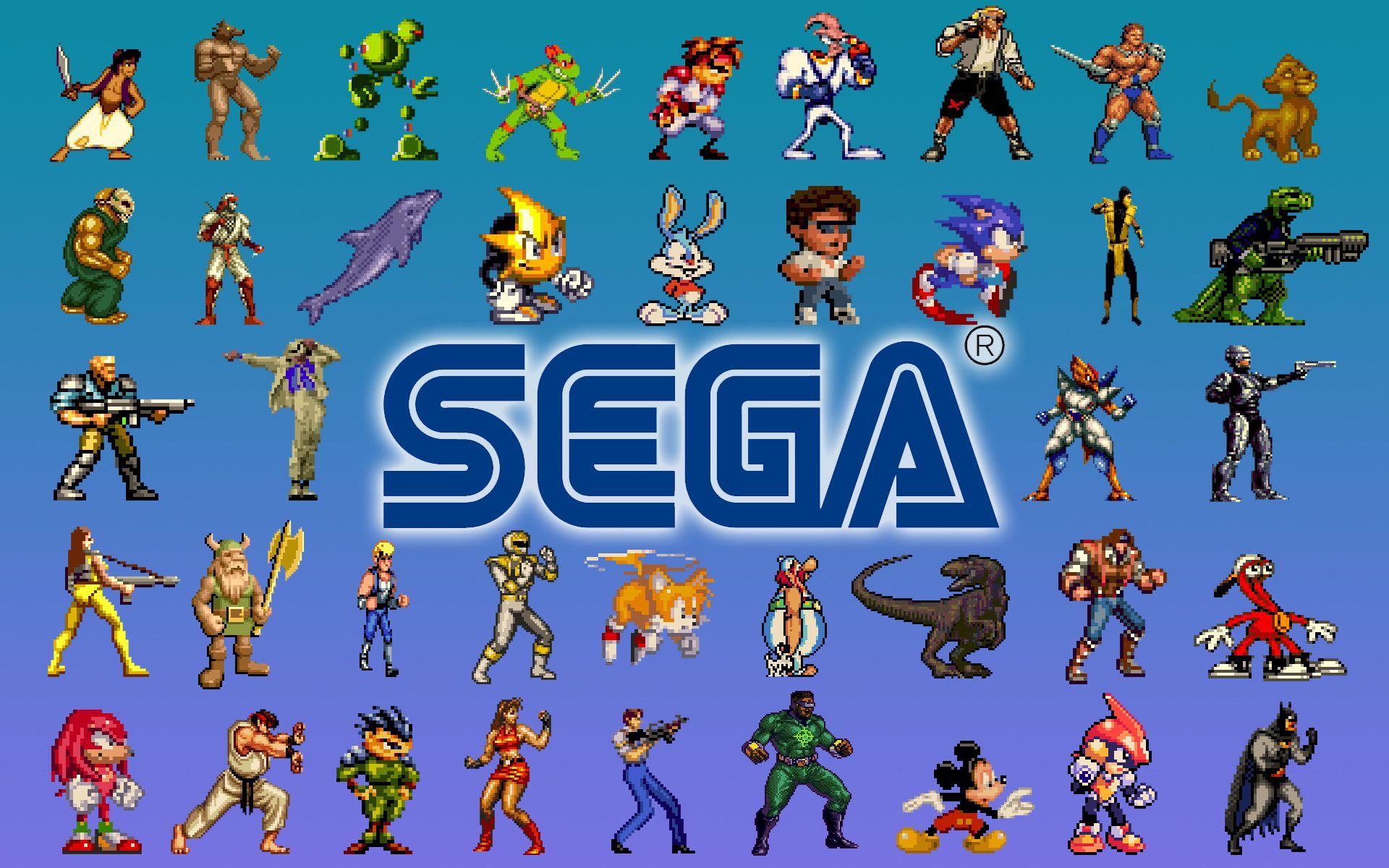Logo com diversos personagens icônicos da SEGA.