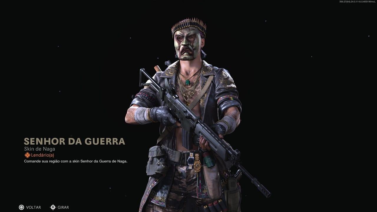 Operador Naga de Call of Duty com a skin Senhor da Guerra, segurando uma arma e com uma máscara tampando o rosto todo