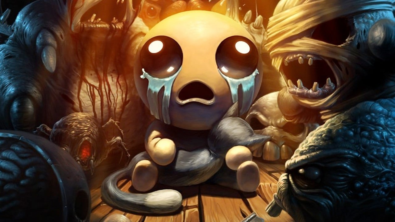 Isacc rodeado por monstros em The Binding of Isaac: Repentance.