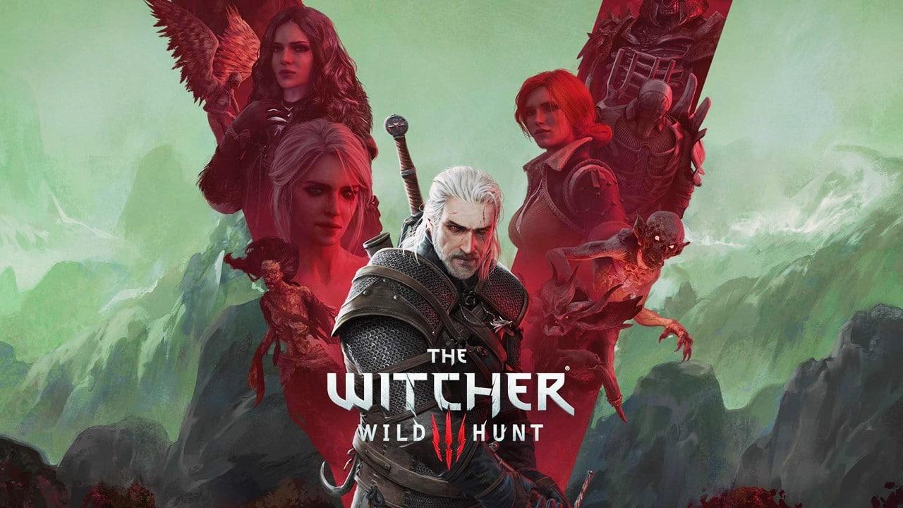 Arte oficial de The Witcher 3 com os protagonistas do jogo.