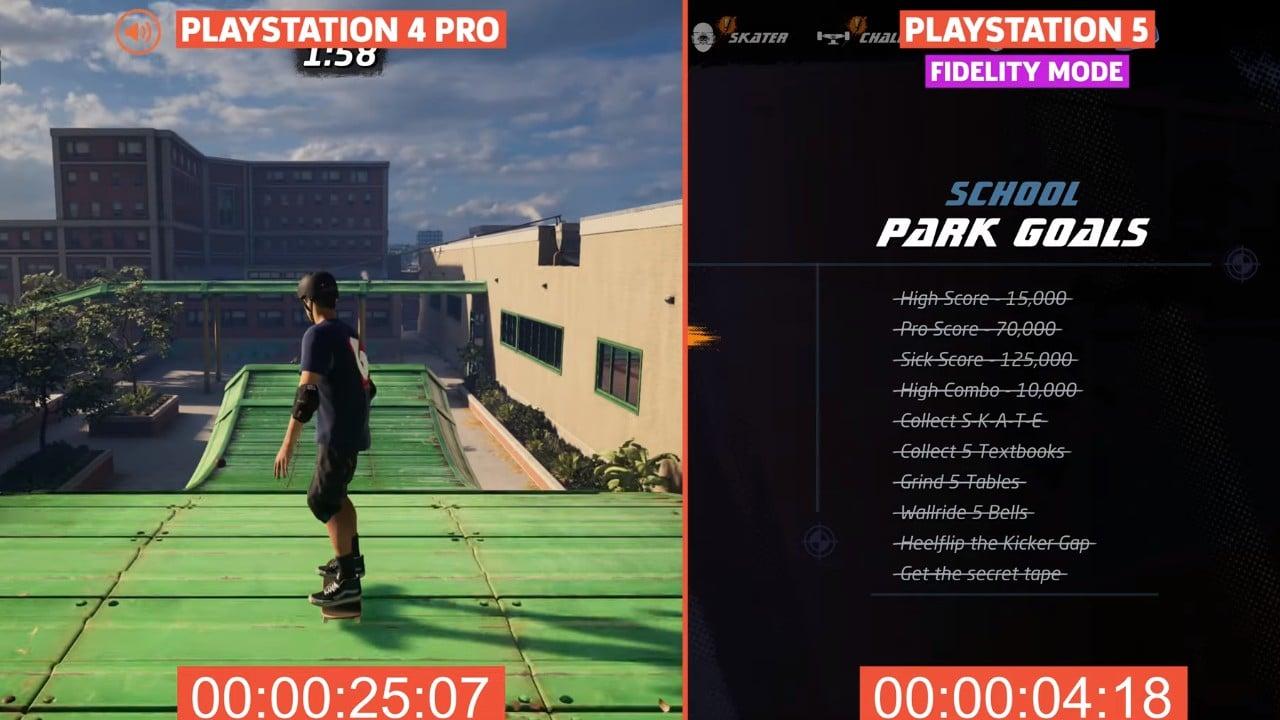 Tony Hawks Pro Skater 1+2 tempo de carregamento comparativo entre PS4 Pro e PS5