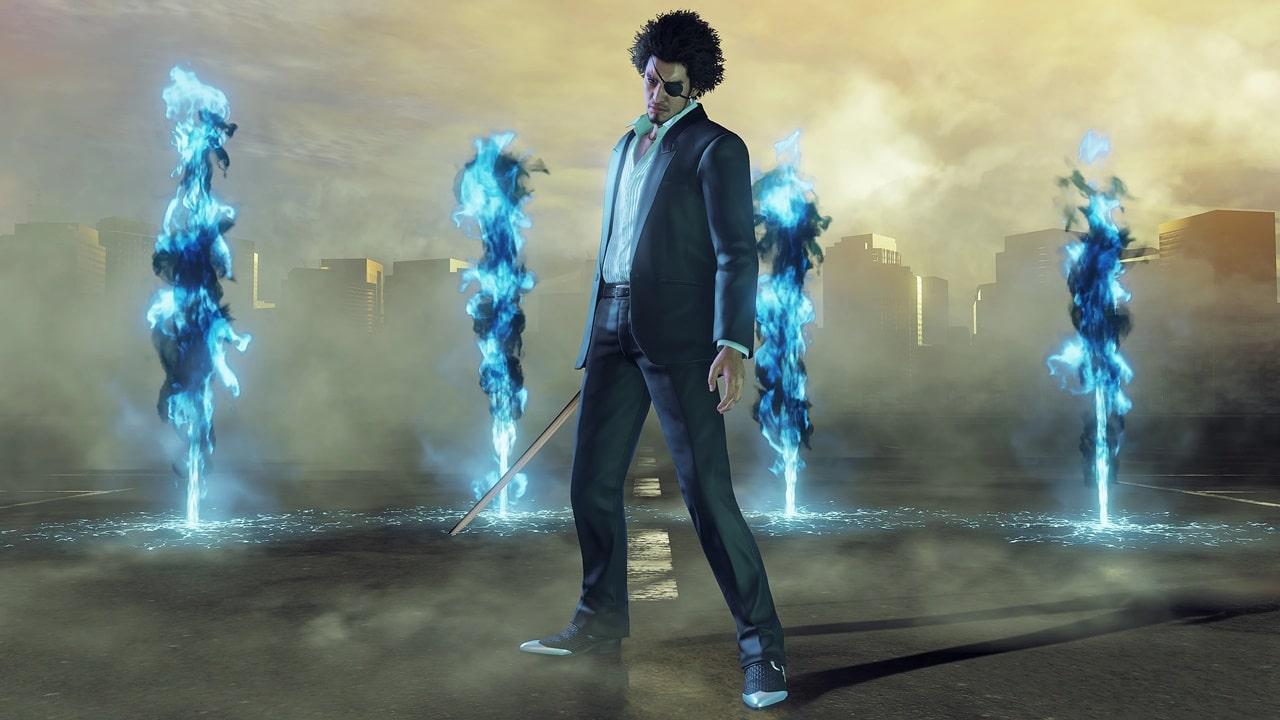 Ichiban, protagonista de Yakuza Like a Dragon, com a skin de Goro Majima.