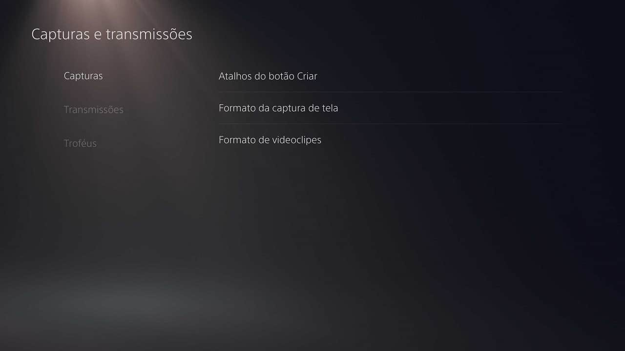 Curiosidades do PS5: imagem mostra as configurações de atalhos do botão criar do DualSense