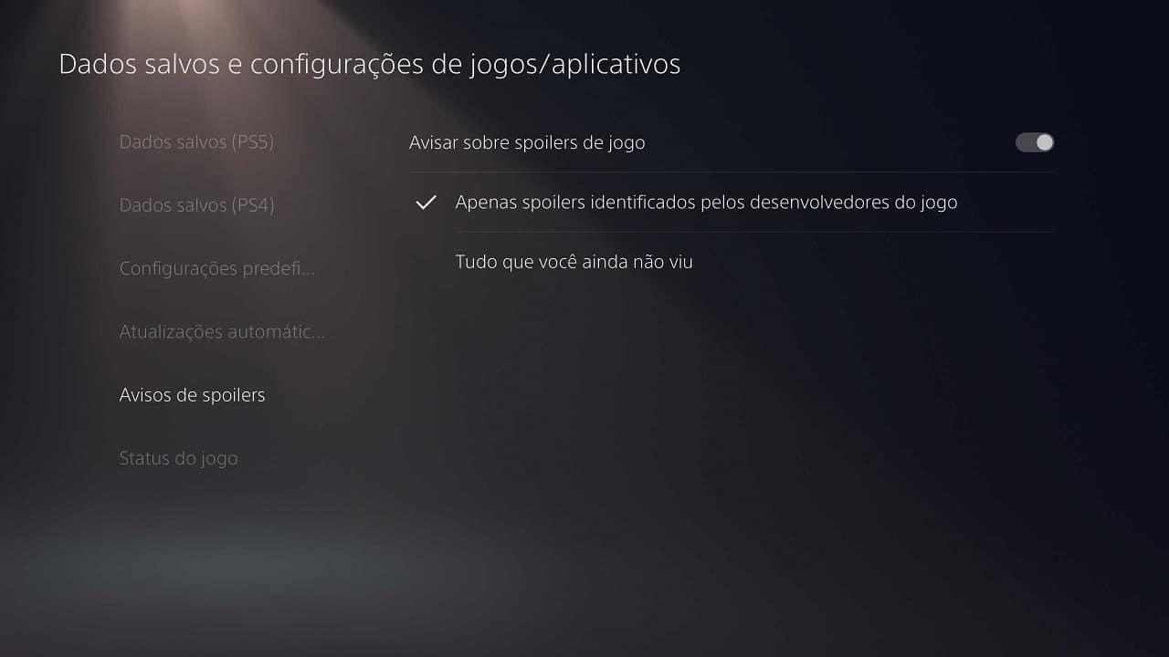 Curiosidades do PS5: imagem mostra o sistema de aviso de spoilers do console