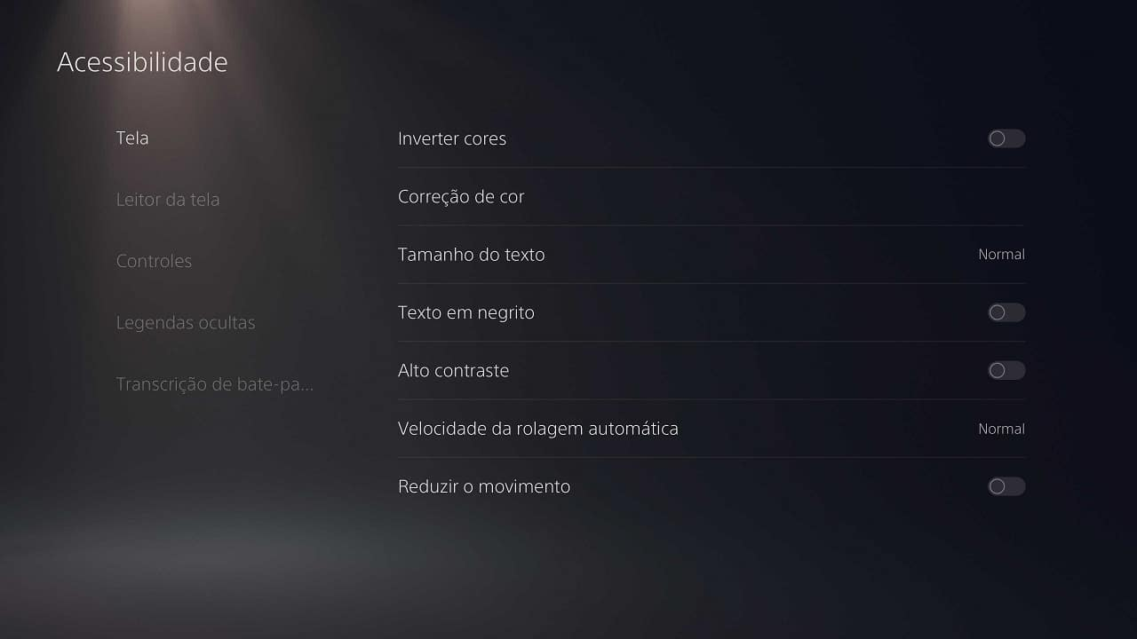 curiosidades do PS5 imagem mostra as configurações de acessibilidade do console