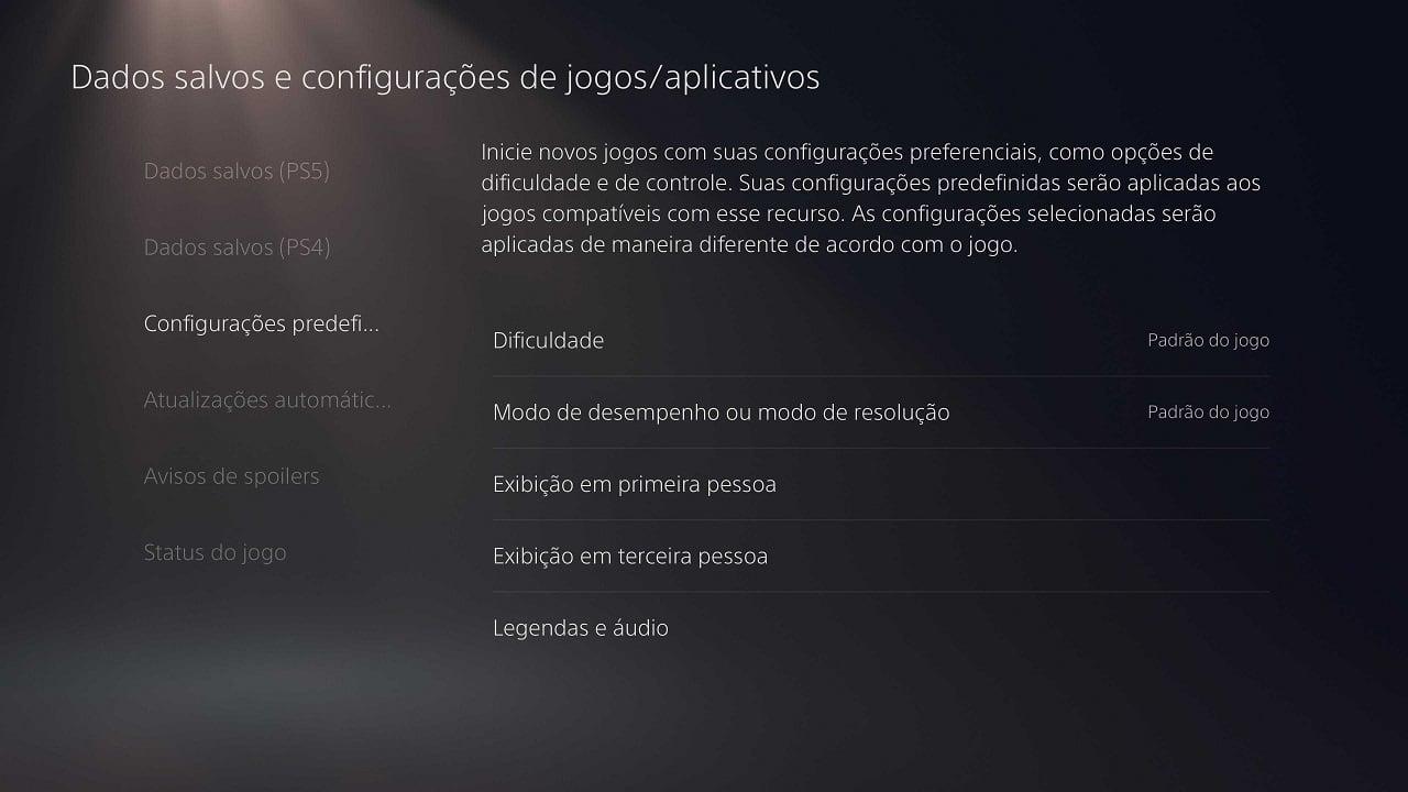 curiosidades do PS5: a imagem mostra o menu de configurações predefinidas do PS5