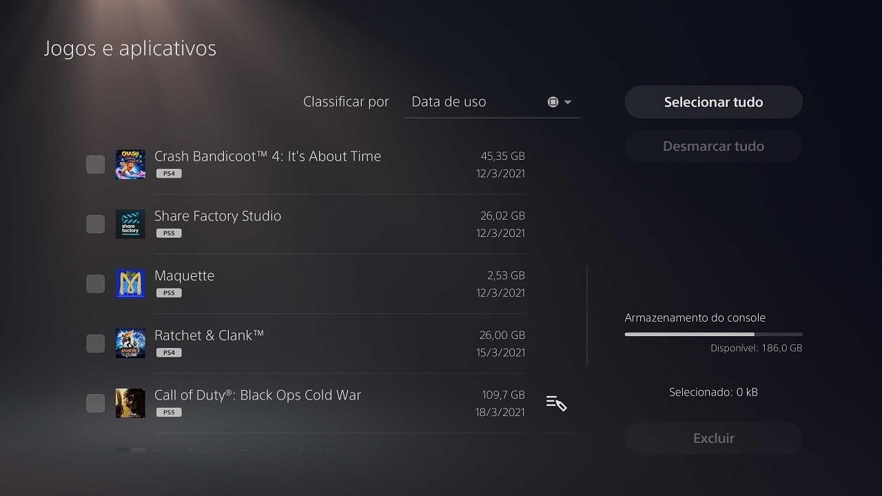 Curiosidades do PS5: imagem mostra o gerenciamento de conteúdo de jogos