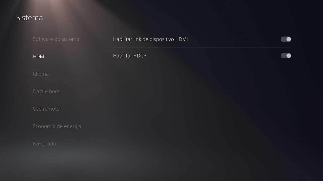 Curiosidades do PS5: imagem mostra configurações de dispositivo HDMI, que habilita ligar o PS5 pela TV