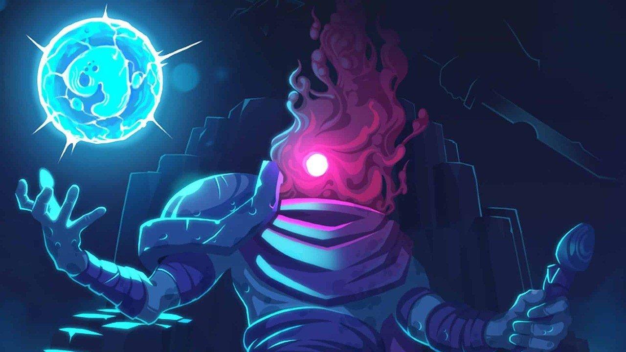 Imagem mostra o protagonista de Dead Cells segurando uma orbe de energia