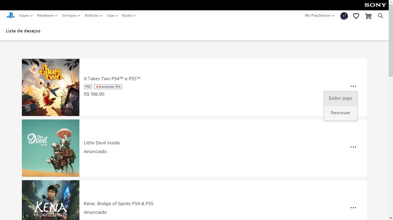 Lista de Desejo - PS Store