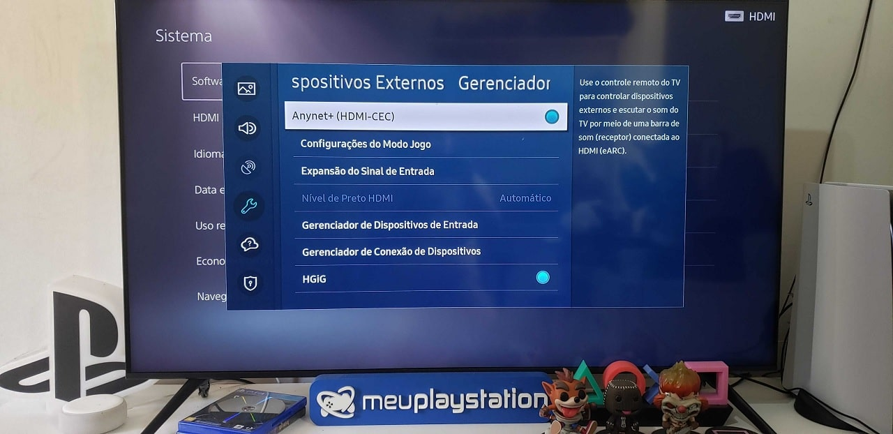 Uma TV com o PS5 conectado nas opções de ligar a TV juntamente com o PS5