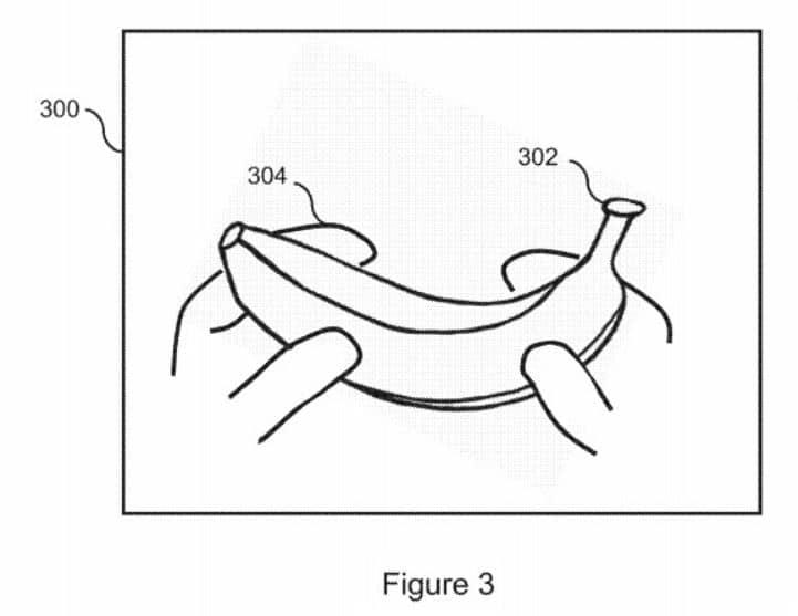 Sony Patente - Mãos segurando uma banana que possivelmente poderá ser um periférico