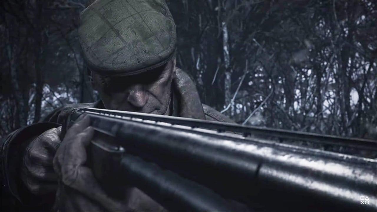 Áudio 3D: velho de Resident Evil Village segurando uma espingarda.