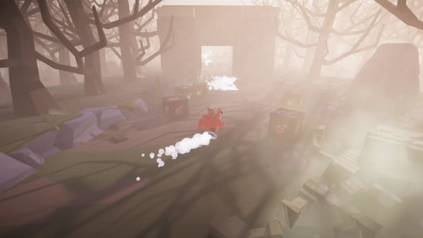 Imagem de capa do protagonista de Babol The Walking Box correndo em uma floresta com árvores se folhas