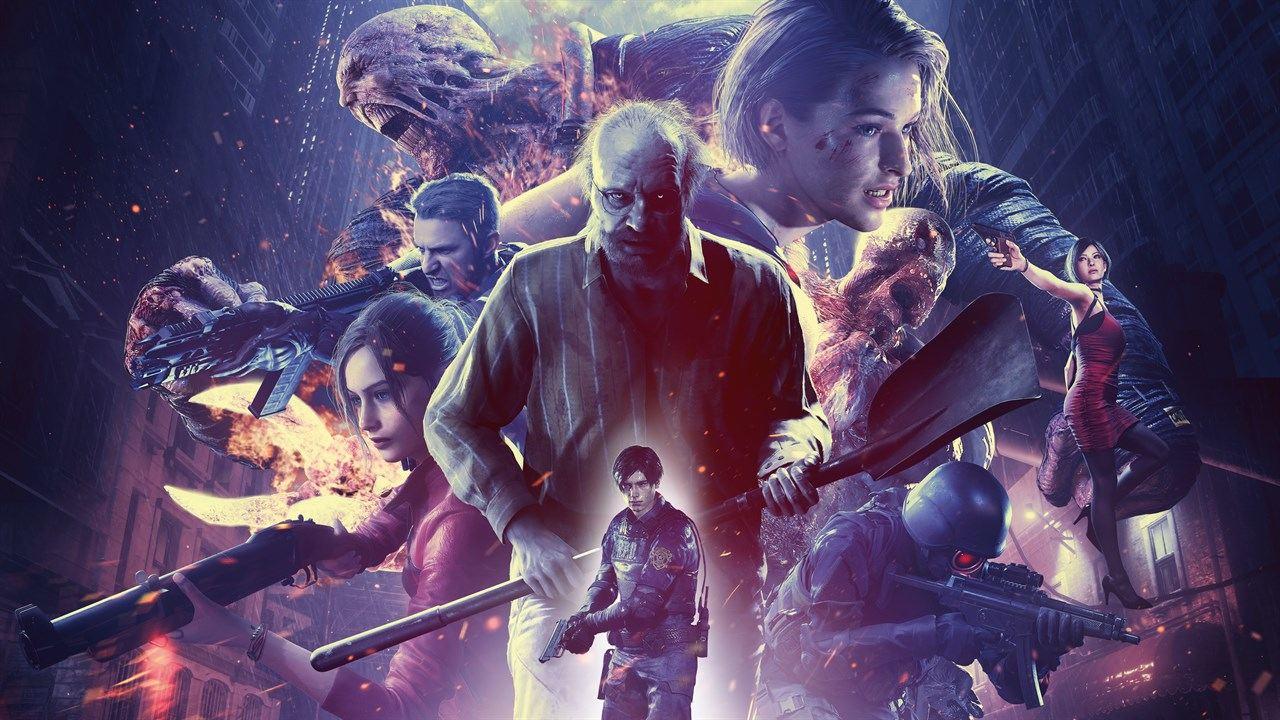 Imagem com diversos personagens clássicos que estarão no jogo Resident Evil Re:verse