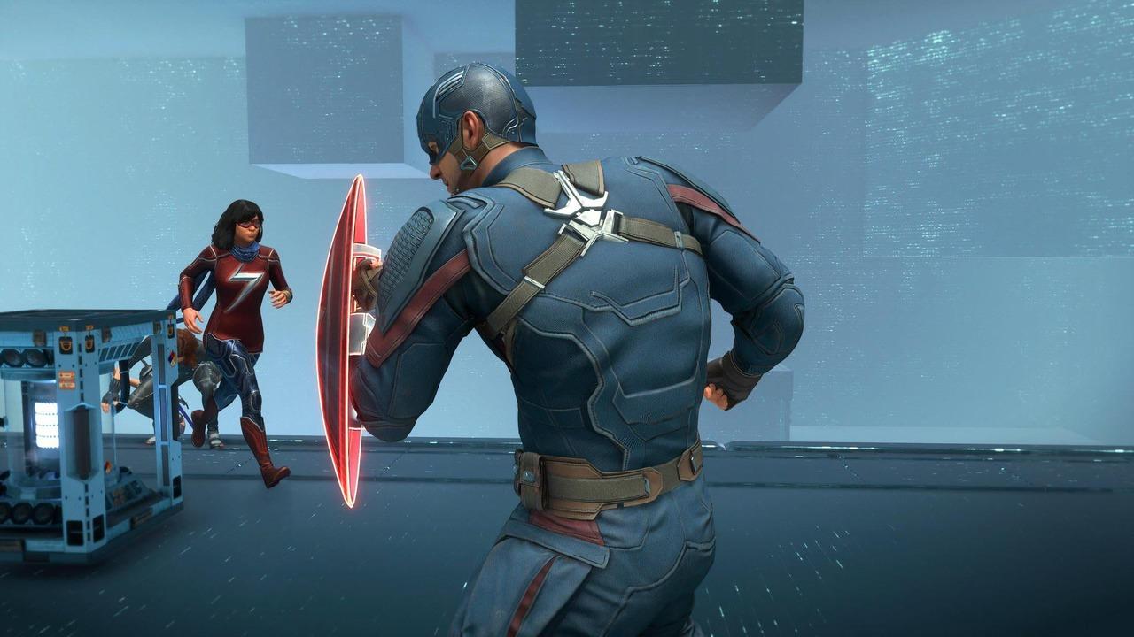 Imagem do Capitão América em Marvel's Avengers parado se defendendo com seu escudo