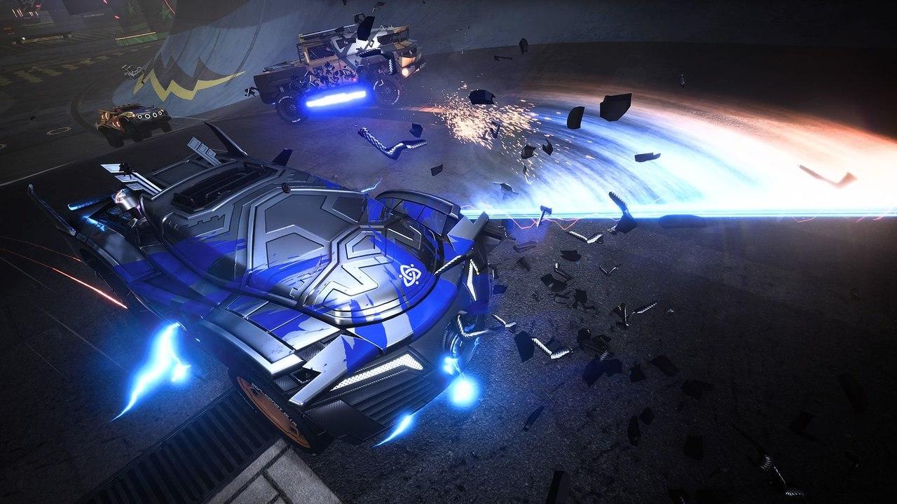 Imagem do veículo da nova personagem de Destruction AllStars soltando laser em sua volta