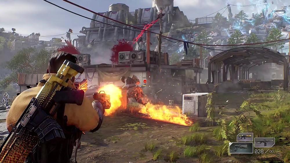 Personagem usando uma arma de fogo em Outriders