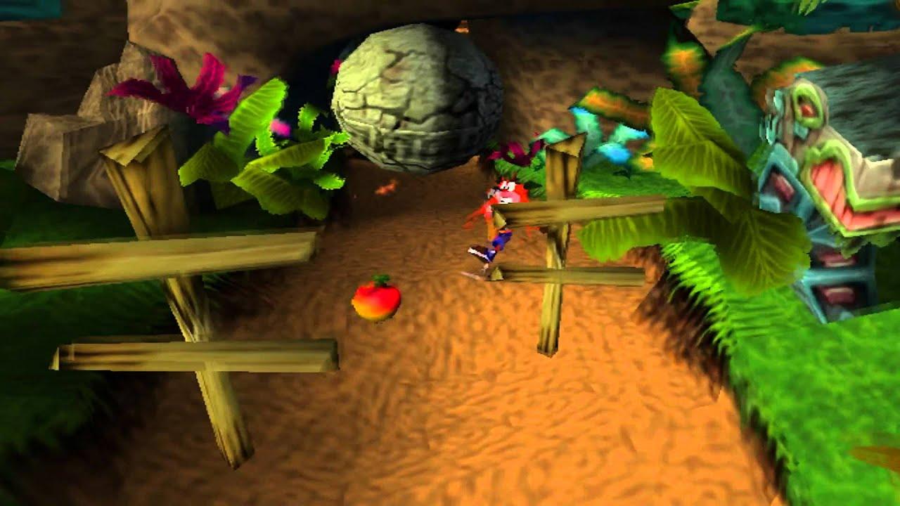 Crash Bandicoot no PlayStation 1 - Crash de frente para os obstáculos que o impedem passar de nível