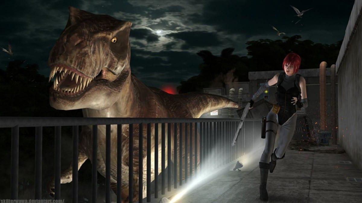 Regina de tenta escapar de um dinossauro em Dino Crisis