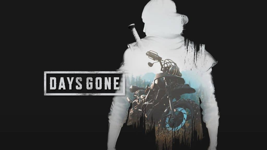 Silhueta de Deadon com uma motocicleta e imagem preta escrita Days Gone