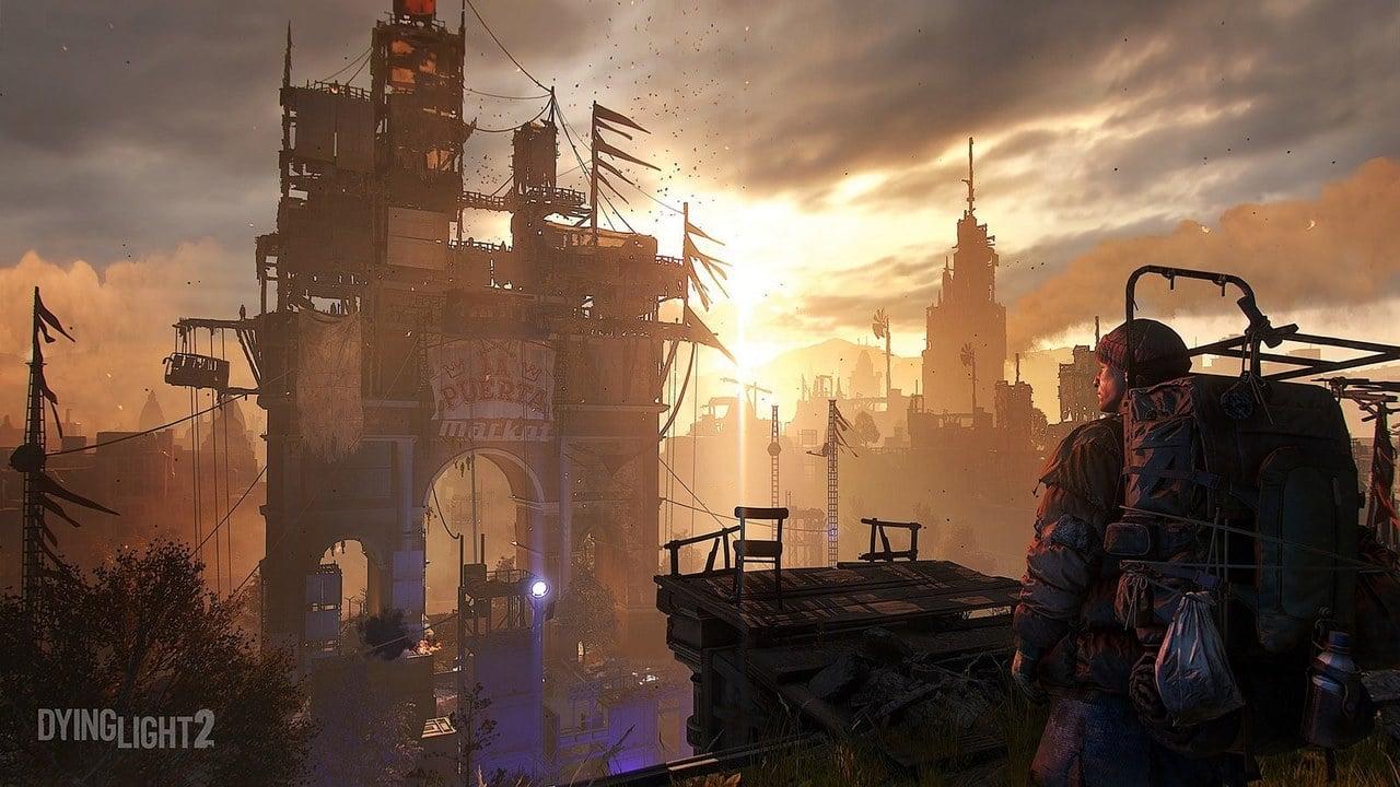 Personagem de Dying Light 2 olhando para a cidade do game ao por do sol.