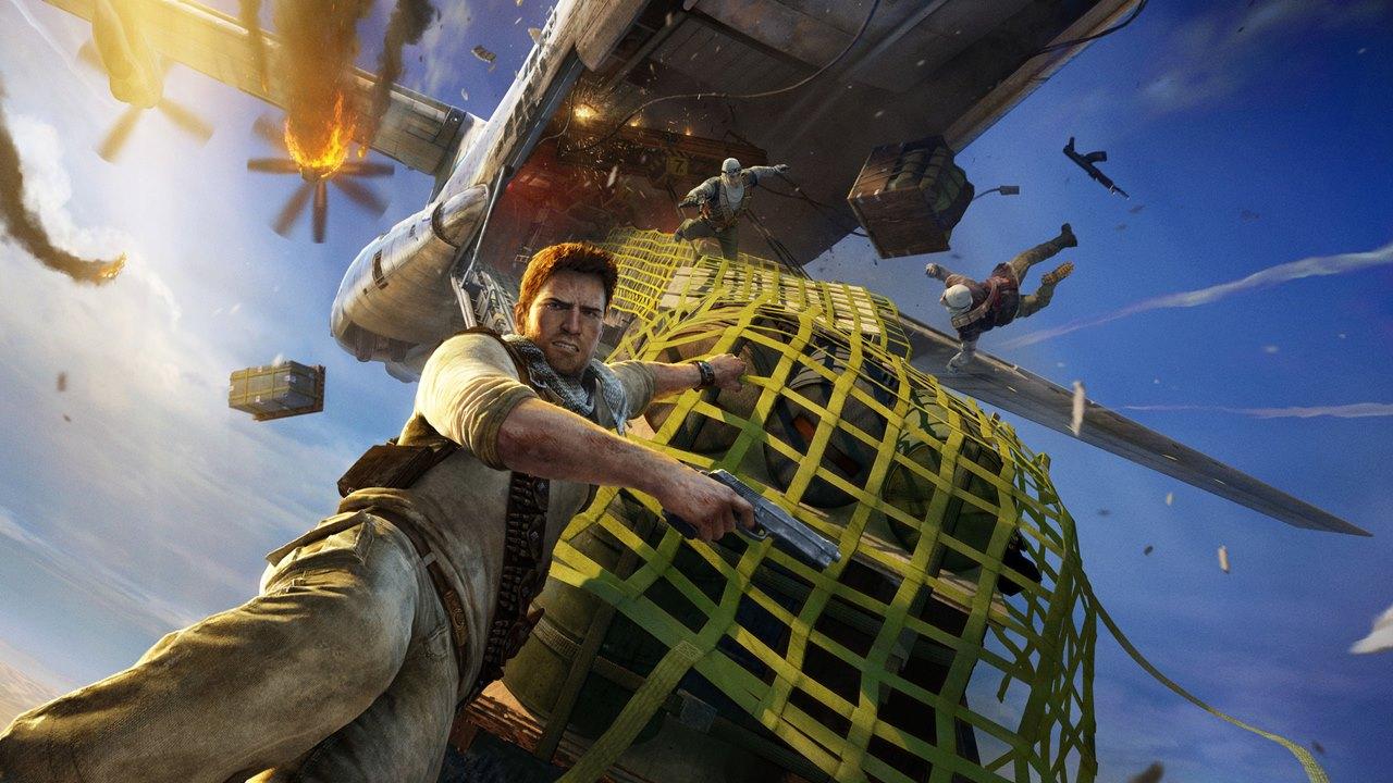nathan Drake em um pendurado em um caixote em Uncharted 3