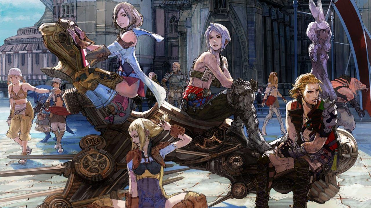Imagem conceitual de Final Fantasy XII, jogo de PlayStation 2, com vários personagens do game sentados em uma espécie de veículo steampunk.