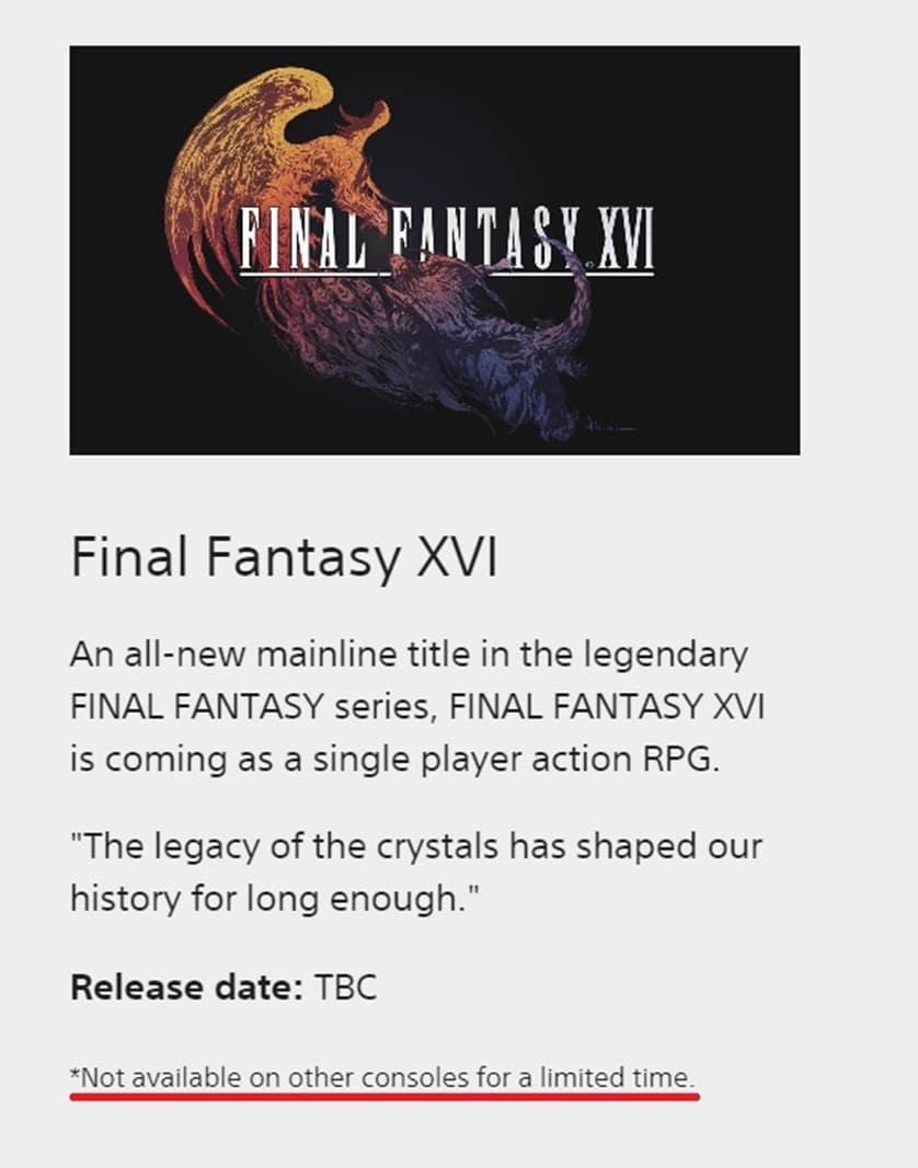 Informações sobre Final Fantasy XVI no site oficial da PlayStation
