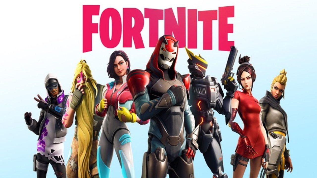 Várias skins de Fortnite e a logo do game em cima