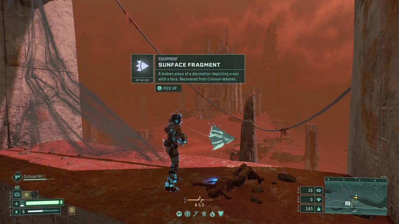 Imagem de capa da protagonista de Returnal em um local alto segurando uma arma