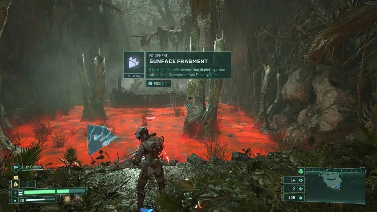 Imagem de capa da protagonista de Returnal em frente a um lago de logo vermelho
