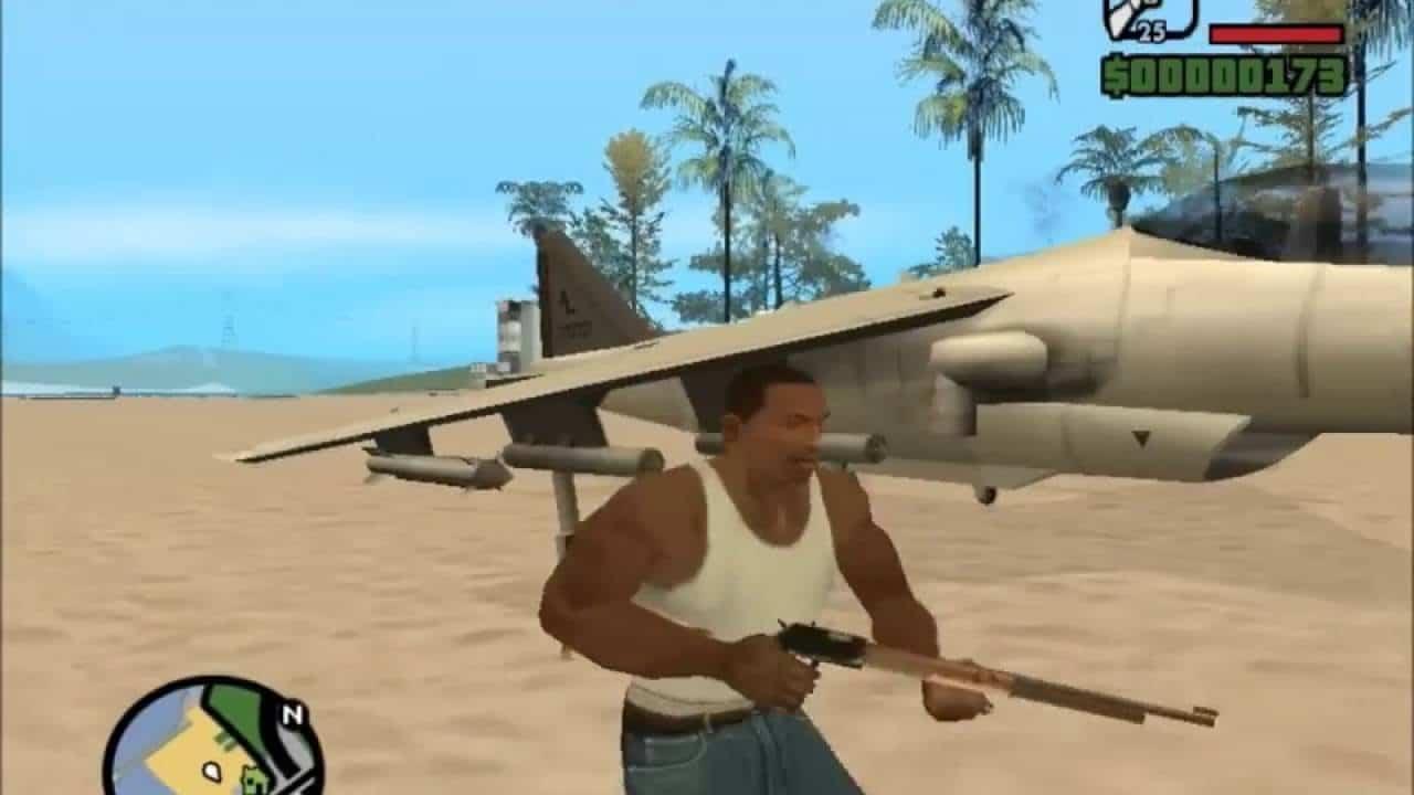 Personagem de GTA San Andreas armado ao lado de um avião de guerra