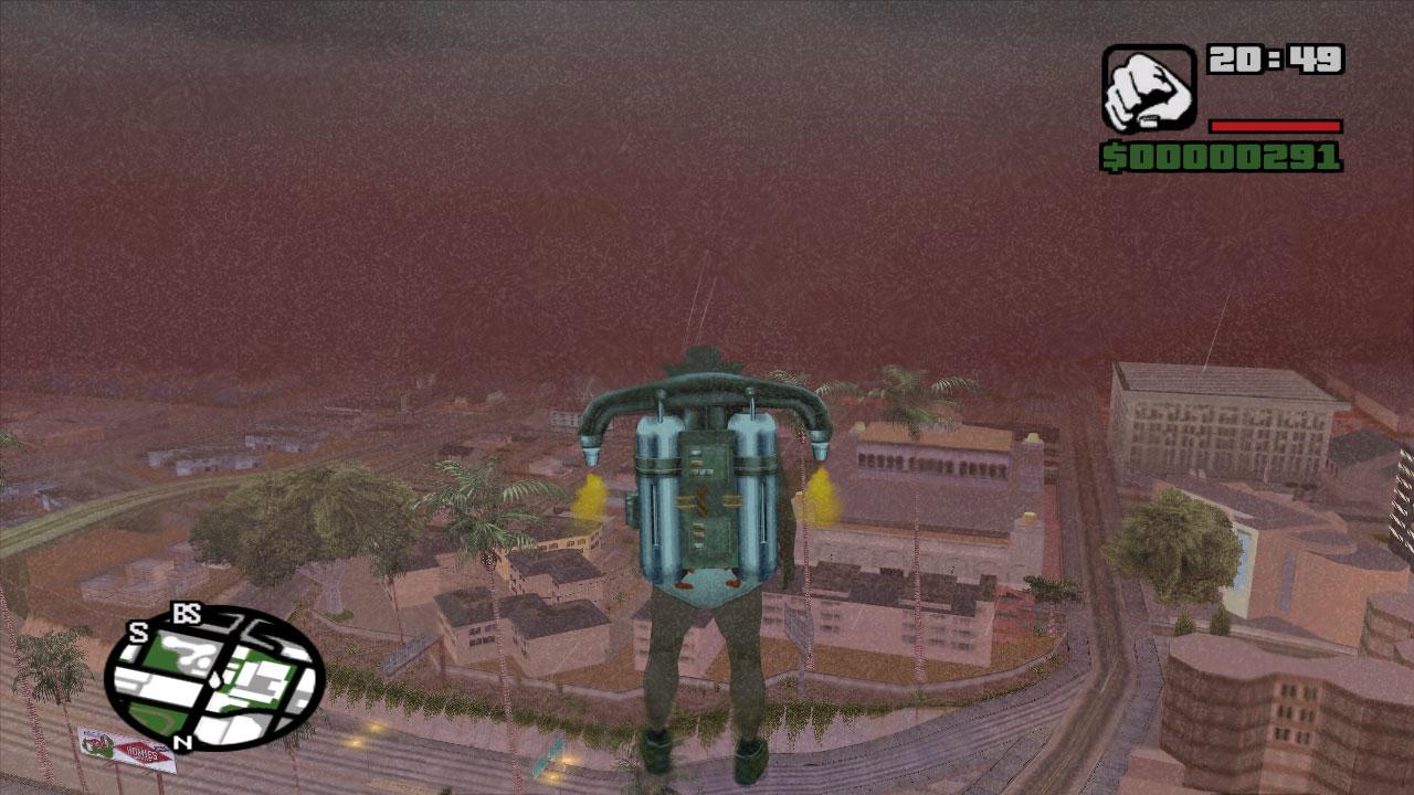 Personagem voando com jetcpack após uso de Códigos de GTA San Andreas