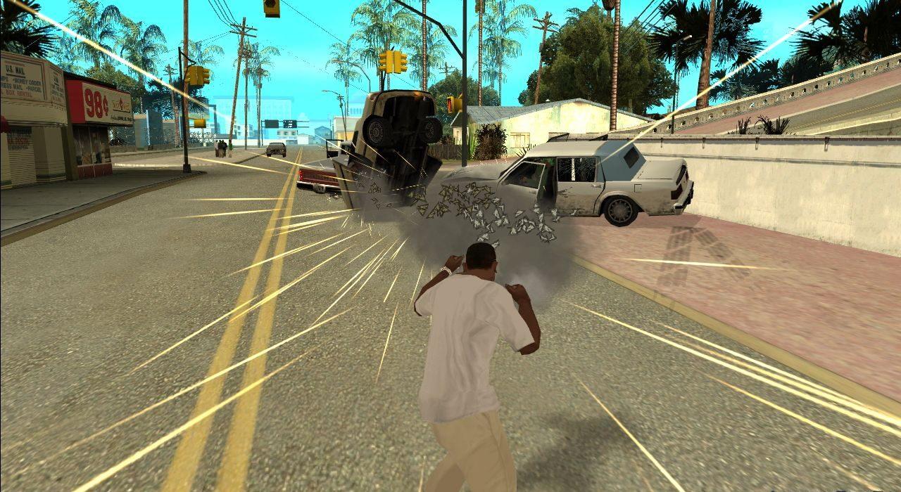 Personagem da dá um super soco após uso de códigos de GTA San Andreas