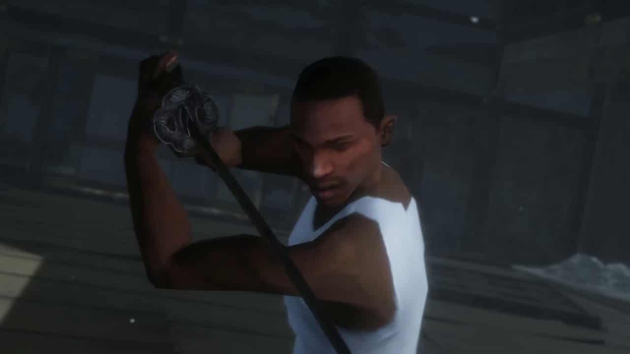 Personagem de GTA San Andreas segura uma espada