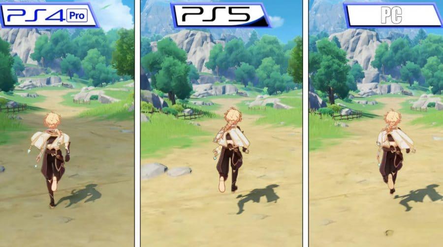 Vídeo compara Genshin Impact no PlayStation 5 e PlayStation 4 Pro