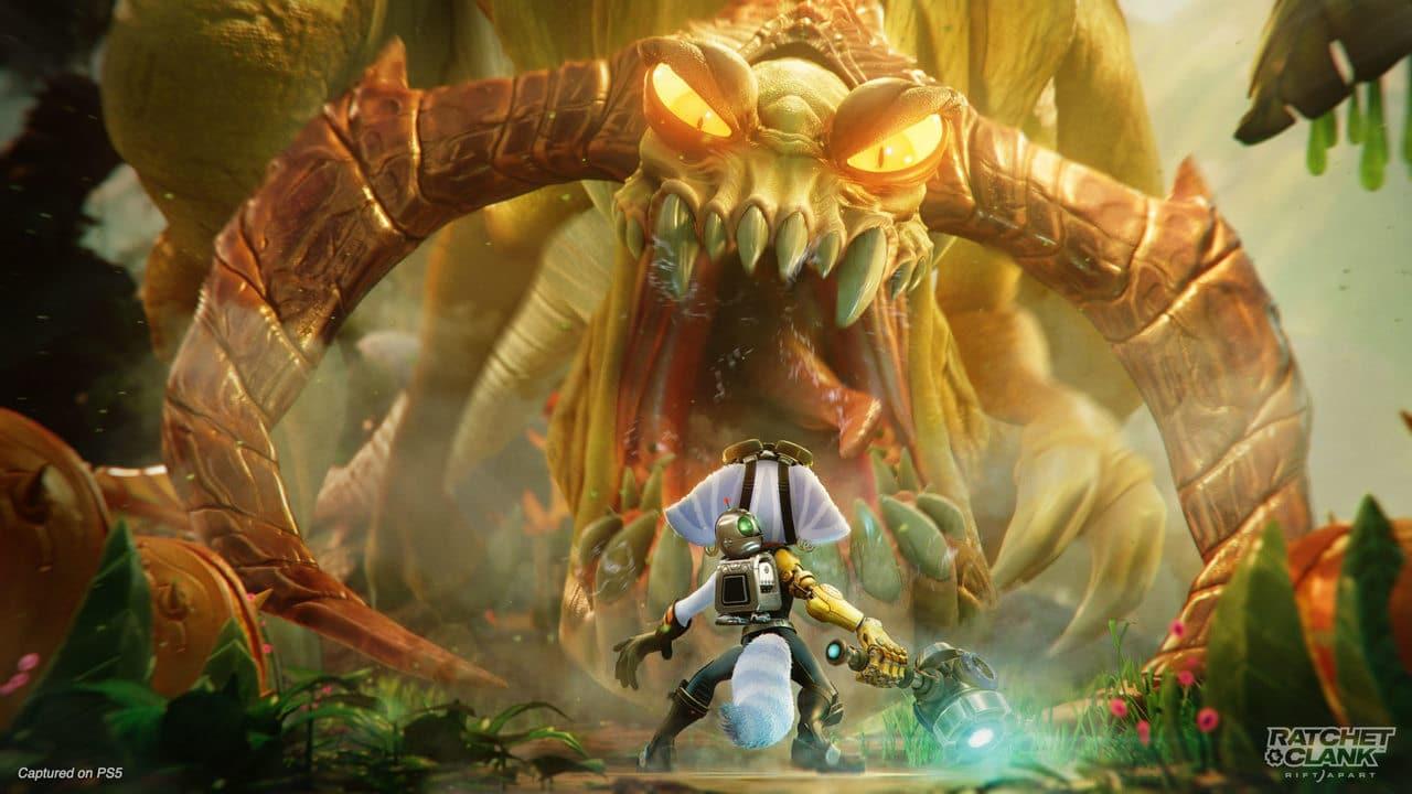 Imagem da nova protagonista do novo Ratchet & Clank sendo encarada por um grande inimigo