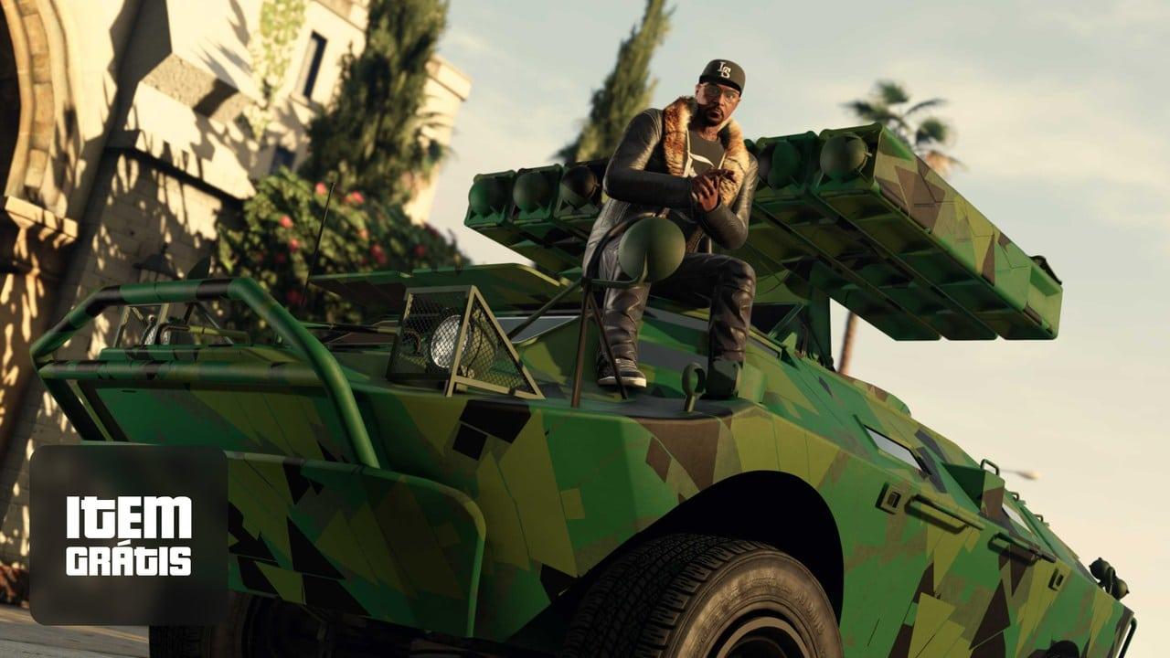Imagem de capa de um personagem de GTA Online sentado em um tanque de guerra e batendo palma